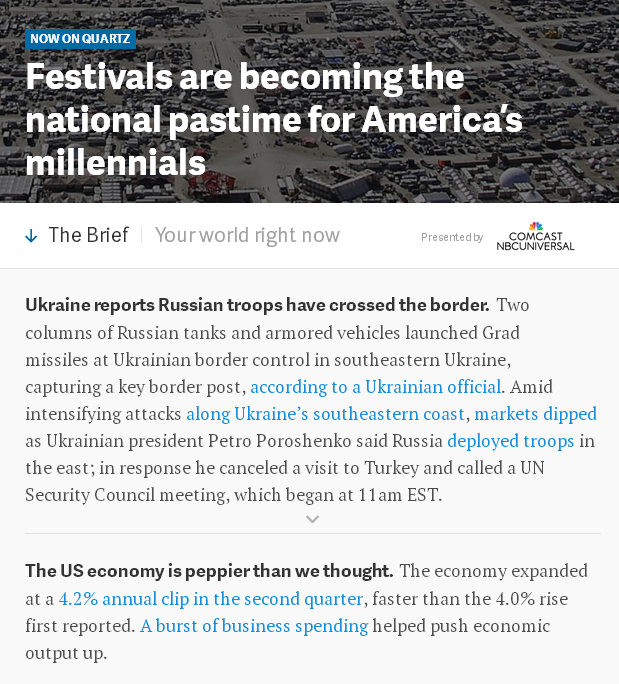 Screenshot of the redesigned Quartz homepage