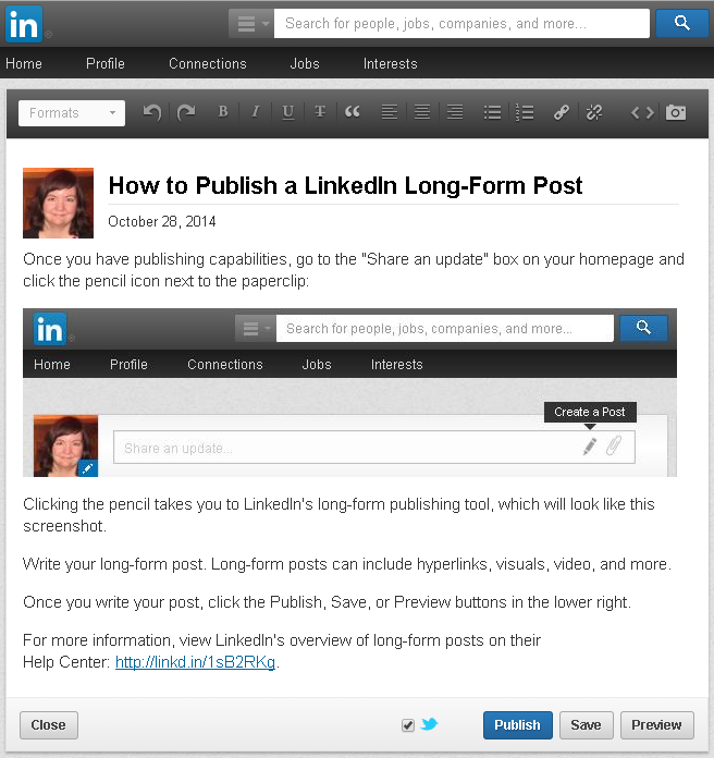 How to create a LinkedIn long-form post; screenshot by Amanda Hicken