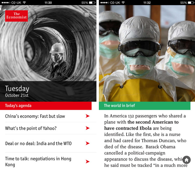 Screenshots of The Economist's Espresso app (iPhone version)