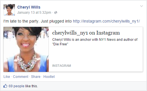 Cheryl Wills - Instagram Announcement
