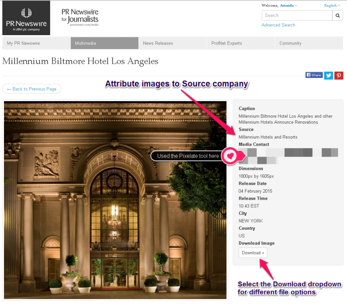 Example of Skitch to explain PR Newswire for Journalists Multimedia Gallery