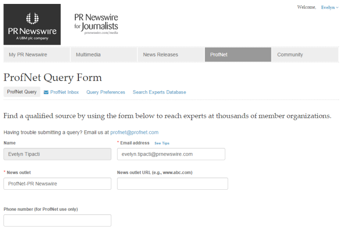 Step 1: Fill out ProfNet Query Form. (Click image to view larger version.)