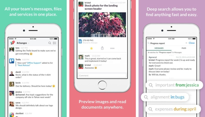 slack app screenshots