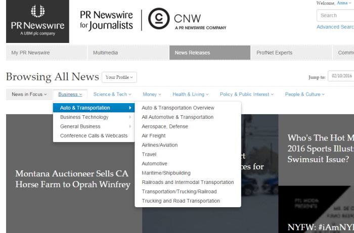 PR Newswire for Journalists Press Releases by Industry