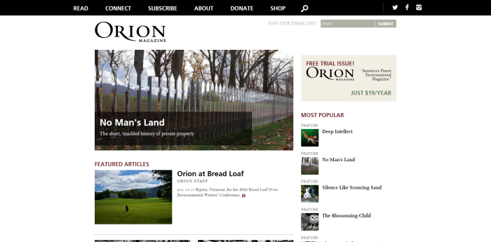 Orion Magazine Nature Culture Place