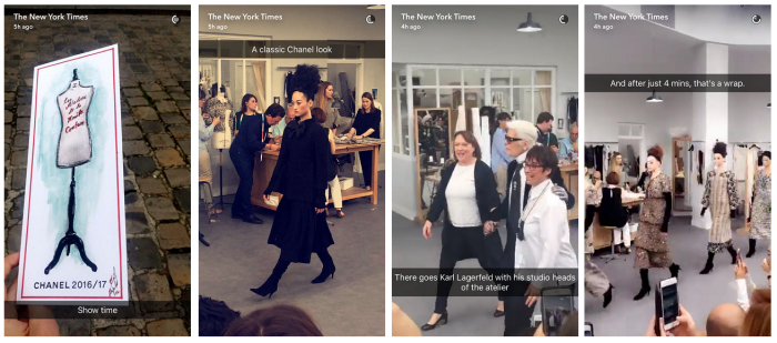 new york times chanel show snapchat