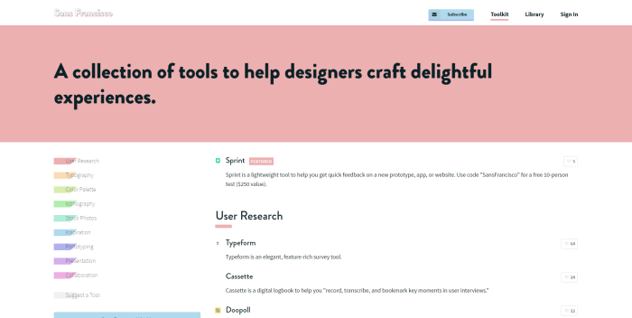 sansfrancisco website tools for designers