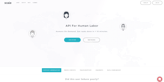 scale app API for human labor