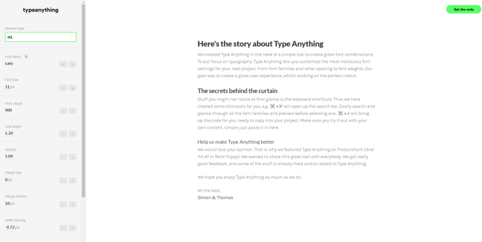 type anything typography site