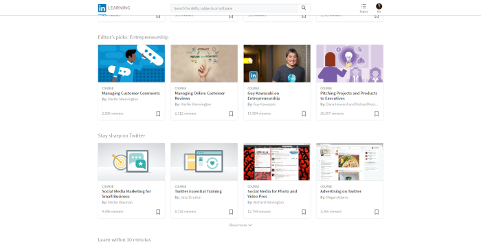 LinkedIn Learning free online courses