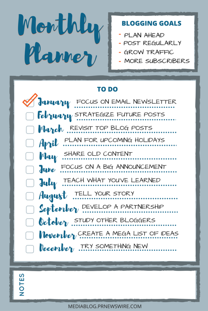 Monthly Action Plan for Bloggers printable checksheet