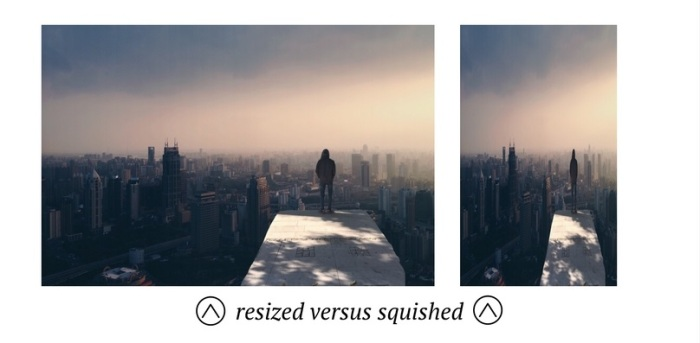 Resize vs squished photo example