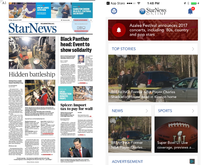 Wilmington StarNews Paper vs mobile app