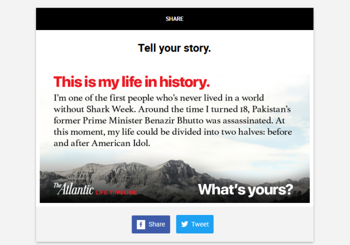 The Atlantic Life Timeline provides an image for readers to share on social media.