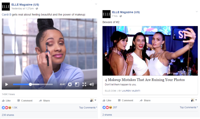 Elle Magazine beauty on Facebook