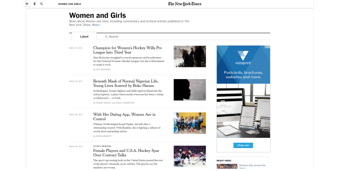 new york times women and girls news