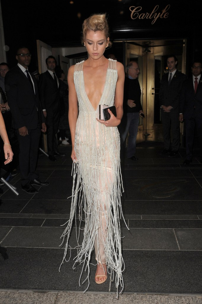 Model Stella Maxwell wore a sheer organic silk chiffon dress covered in strands of pearls.