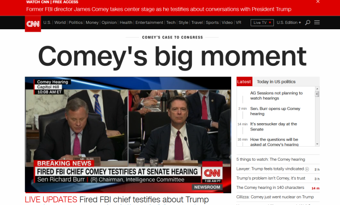 Comey-Testimony-Broadcasts-Live-On-Cable-News
