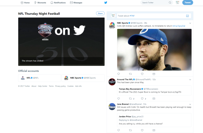NFL livestream on Twitter