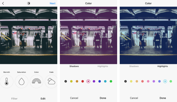 Instagram color feature