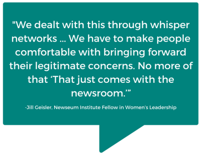 Quote from Jill Geisler, the newly-appointed Newseum Institute Fellow in Women's Leadership