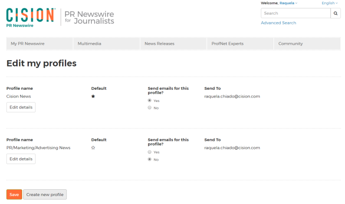 "PR Newswire for Journalists ""Edit my profiles"" page"