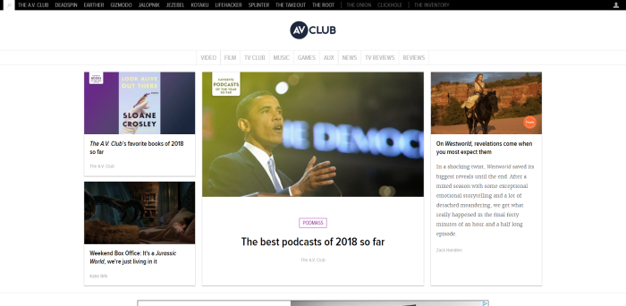 Screenshot of avclub.com homepage