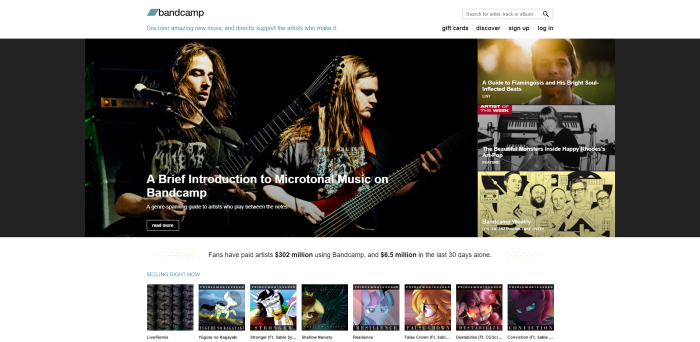 Screenshot of bandcamp.com homepage