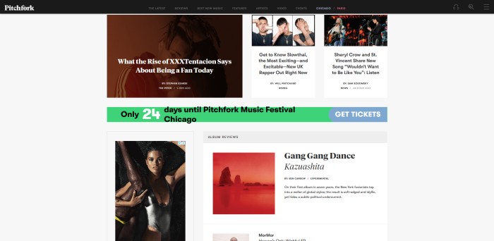 Screenshot of pitchfork.com homepage