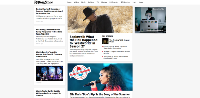 Screenshot of RollingStone.com homepage