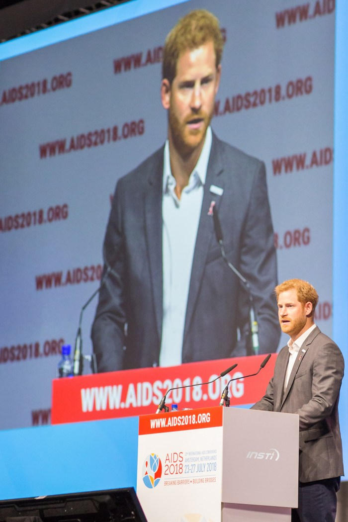 Prince Harry at the podium for the launch of the MenStar Coalition