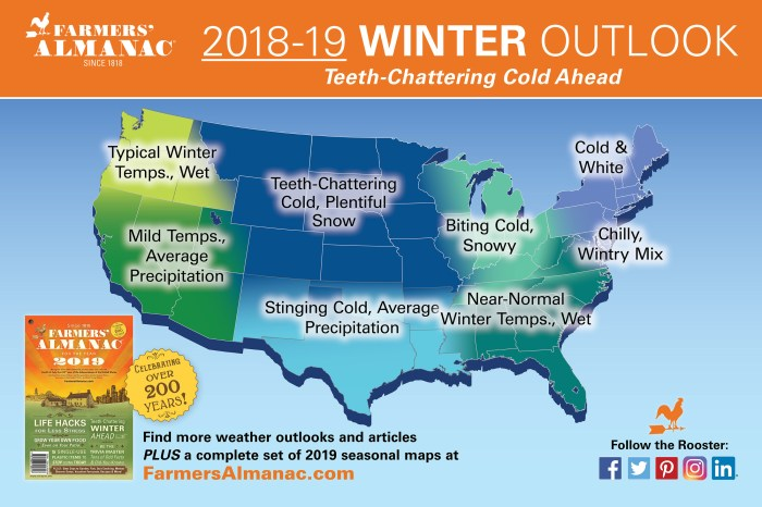 US Farmers' Almanac 2018-19 Winter Outlook Map