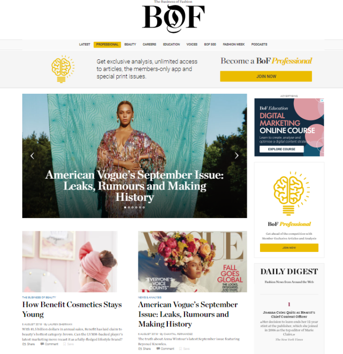 Screenshot of Business of Fashion homepage