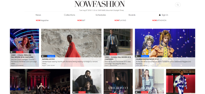 Screenshot of NOWFASHION homepage