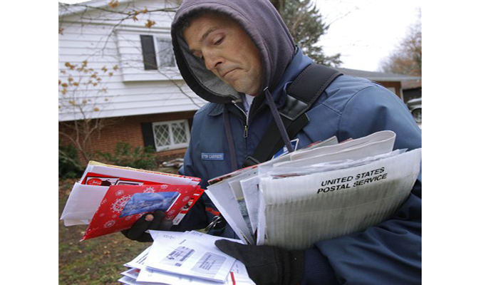 United States Postal Service worker delivering mail