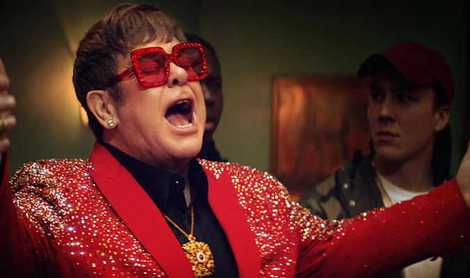 Elton John Singing in Snickers Ad