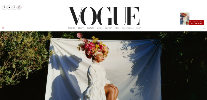 Screenshot of Vogue homepage with September issue cover of Beyonce.