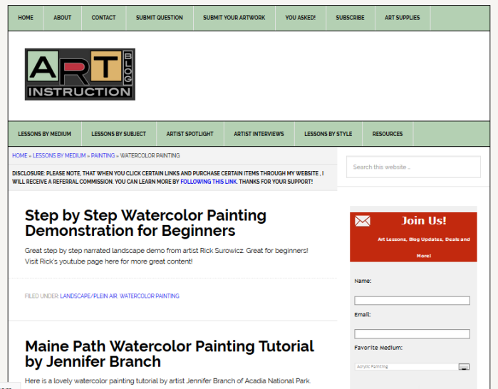 Art Instruction Blog homepage