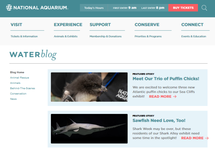 National Aquarium website - Water Blog