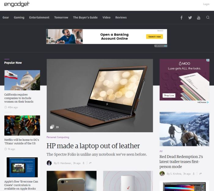 engadget.com homepage