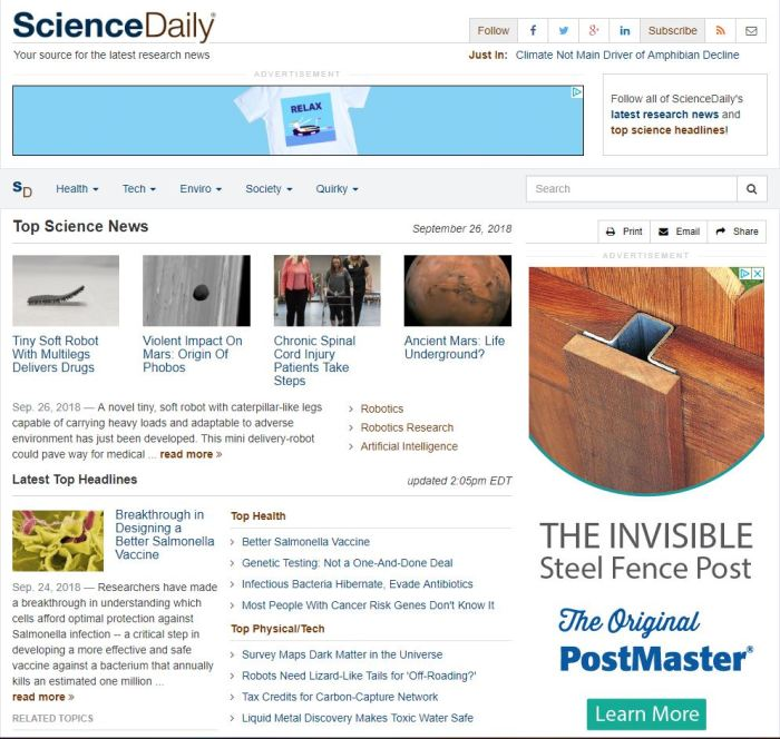 sciencedaily.com homepage