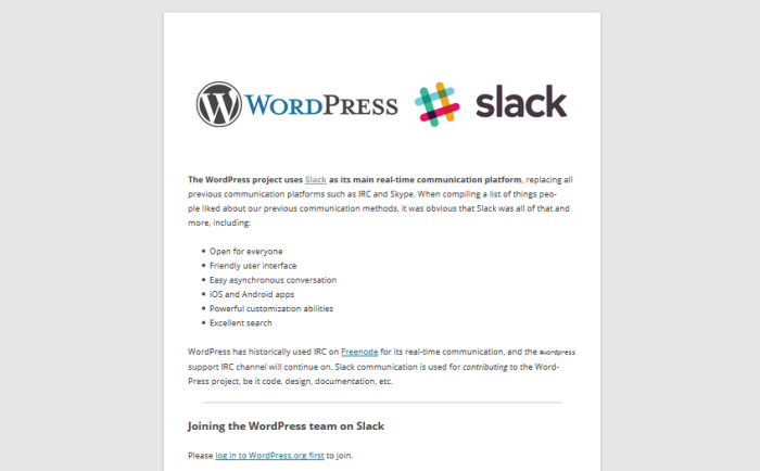 WordPress on Slack
