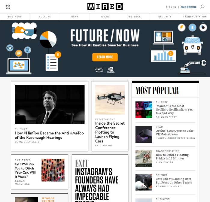 wired.com homepage