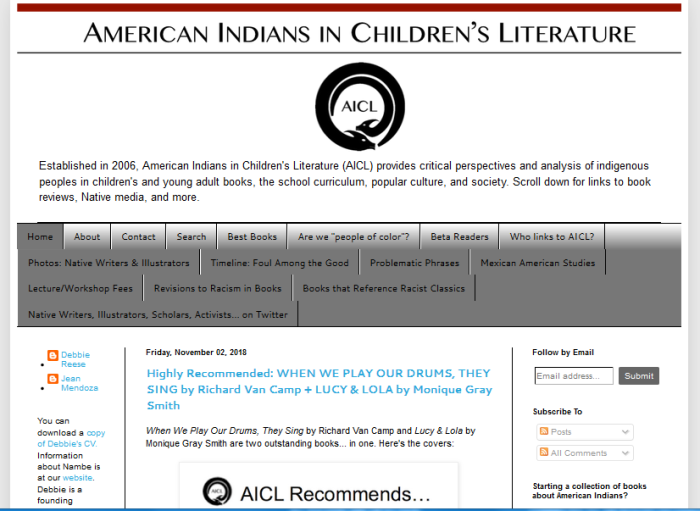 American Indians in Children's Literature homepage