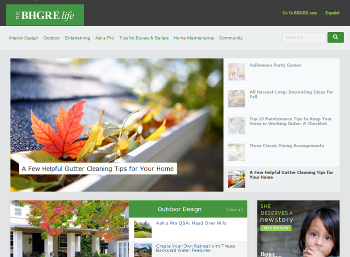The BHGRE Life homepage