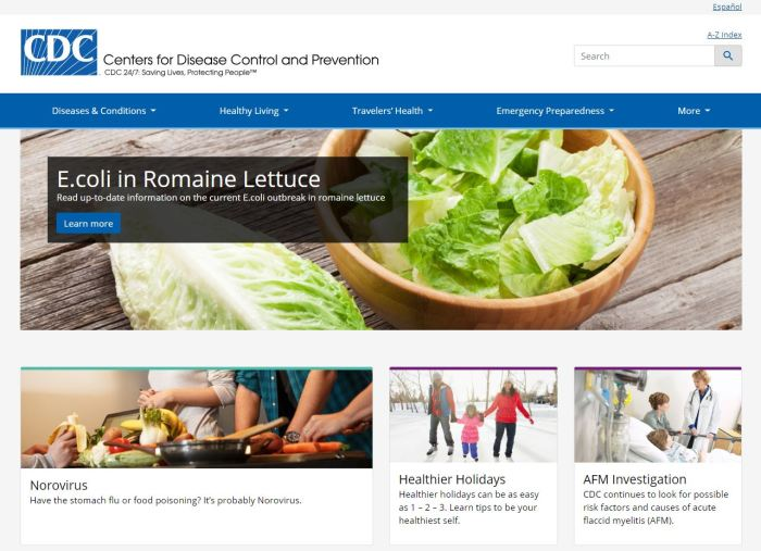 Top Health News Sites: CDC homepage