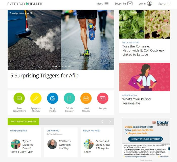 Top Health News Sites: Everyday Health homepage