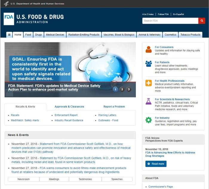 Top Health News Sites: FDA homepage