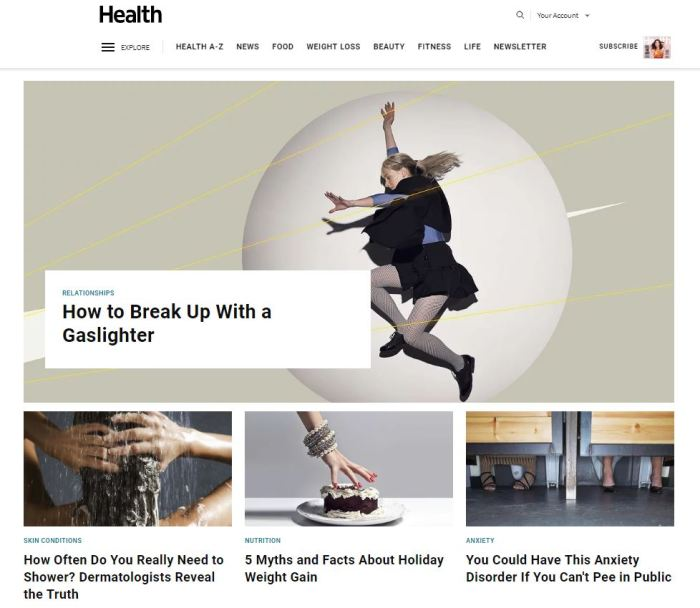 Top Health News Sites: Health.com homepage