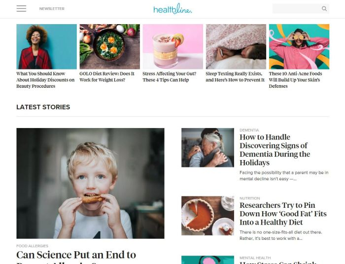 Top Health News Sites: Healthline homepage